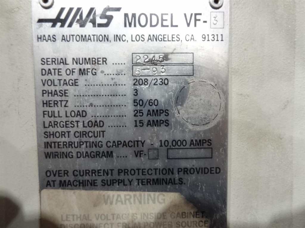 haas vf 3 vertical machining centre 1993 1st machinery enlarge