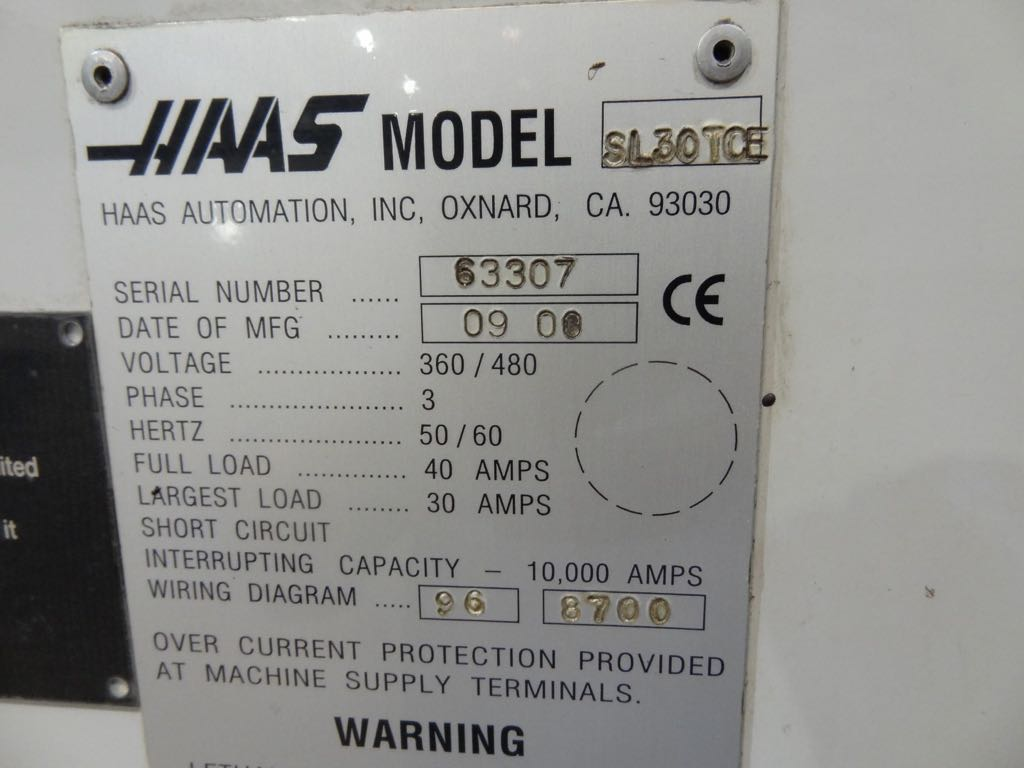 Haas Sl30 Cnc Lathe 2000 1st Machinery Wiring Diagram Enlarge