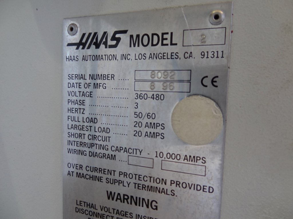 Used Haas Vf 2 Vertical Machining Centre 1995 1st Machinery Wiring Diagram Enlarge