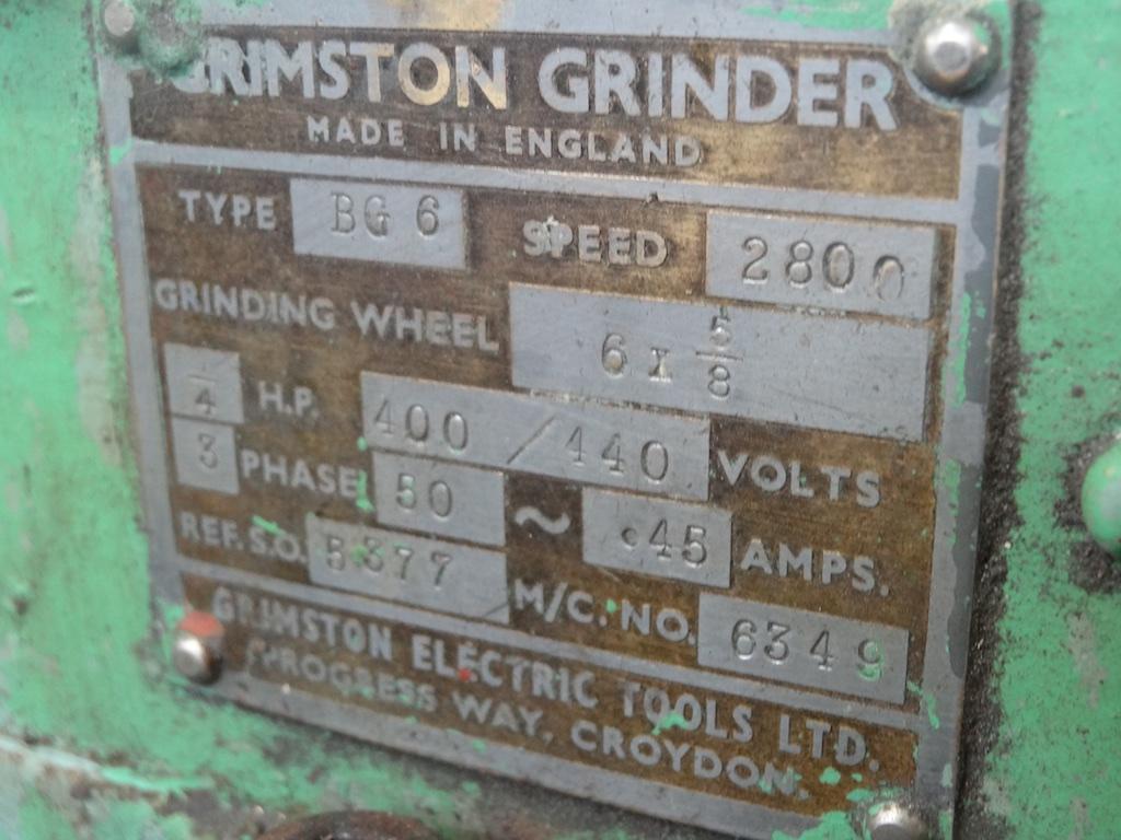 Grimston 6 Grinding Wheel 1st Machinery