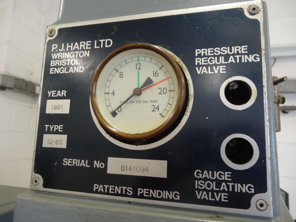 P J Hare 12 Ton Hydraulic 12 Bs Press 1981 1st Machinery